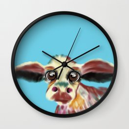 Colorful Cow With Big Eyes On Bluebackground Wall Clock