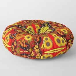 COFFEE BROWN MONARCH BUTTERFLY SUNFLOWERS Floor Pillow