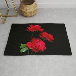 Red roses on black background Rug