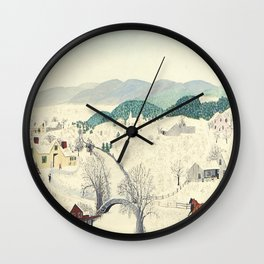 Anna Mary Robertson 'Grandma' Moses To Grandma's House We Go on Thanksgiving Day Folk Art Wall Clock