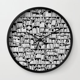 Book Lover Heart Library Pattern Wall Clock