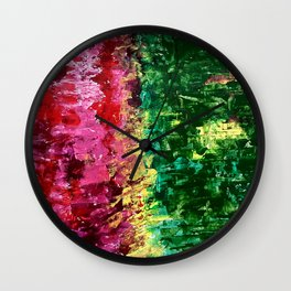 Abstract painting rose and green Wall Clock