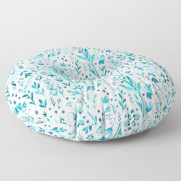 Blue primroses, aromatic herbs Floor Pillow