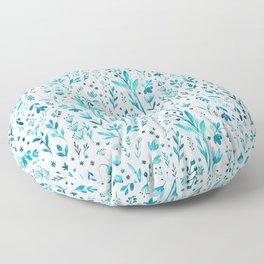 Blue primroses, aromatic herbs Floor Pillow