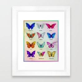 Zodiac Butterflies Framed Art Print