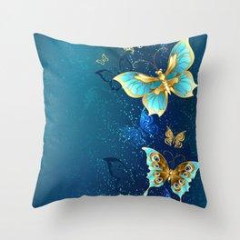 Golden Butterflies on a Blue Background Throw Pillow