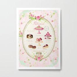 Pink Patisserie Rose Metal Print