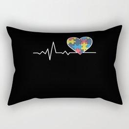 Autism Awareness Gift Autism Puzzle Heartbeat Gift Rectangular Pillow