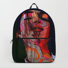 Face of a woman in a grunge style with linedrawing Backpack