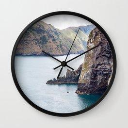 Cliff Face, Akaroa, New Zealand Wall Clock
