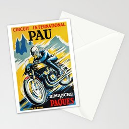Grand Prix de Pau, Race poster, vintage motorcycle poster, retro poster, Stationery Cards