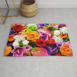 Bouquet of Roses, Carnations, Lilies, Tulip Still Life Painting by Jeanpaul Ferro Rug