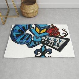 Blue Vibes Lamp post and Piano keys Rug
