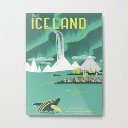 Vintage Mid Century Modern Iceland Scandinavian Travel Poster Ocean Whale Winter Village Metal Print