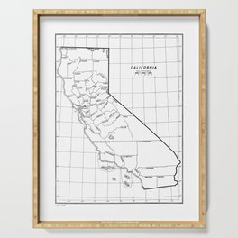 California State Map with Counties Serving Tray