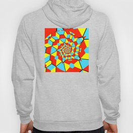 Geometric abstract cubist art three-dimensional colorful cubes in a bursting curling square pattern Hoody