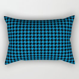 PreppyPatterns™ - Cosmopolitan Houndstooth - black and azure blue Rectangular Pillow