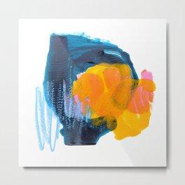 Orange & Blue Monotype Metal Print