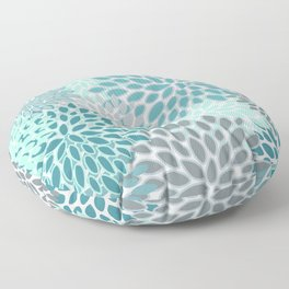 Festive, Modern, Floral Prints, Teal and Gray Floor Pillow