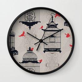 Kiss Empty Brid Cages Wall Clock
