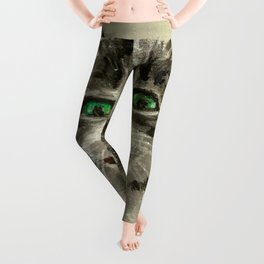 Happy cat portrait Leggings
