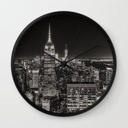 New York Skyline Night Sky Wall Clock