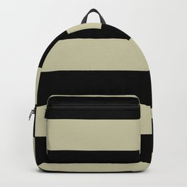 Natural Olive Green - Martinique Dawn - Asian Silk Hand Drawn Fat Horizontal Lines on Black Backpack
