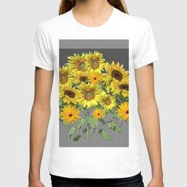 GREY YELLOW SUNFLOWER FIELD ART T-shirt