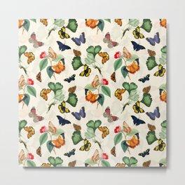 Antique Cream Butterflies Summer Leaves Garden Metal Print