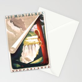 retro iconic Les Montagnes Yugoslaves poster Stationery Cards