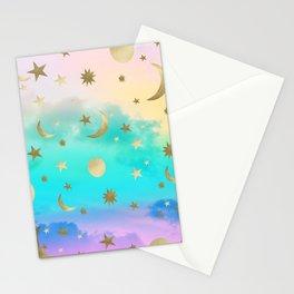 Pastel Rainbow Starry Sky Moon Dream #1 #decor #art #society6 Stationery Cards