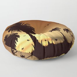 Sunsets and sunrises over the savanna with palm trees Floor Pillow