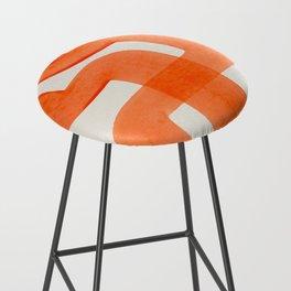 Mid Century Modern Abstract Minimalist Abstract Vintage Retro Orange Watercolor Brush Strokes Bar Stool