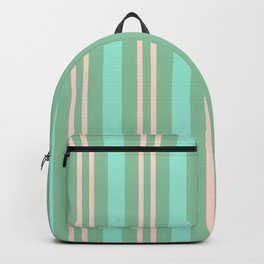 Green and peach striped pattern Backpack