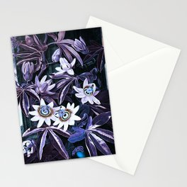 Muted Puce & Blue Passion Flowers Temple of Flora Stationery Cards