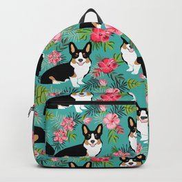 Tricolored Corgi Hawaiian Print corgi summer tropical palms hibiscus flowers Backpack