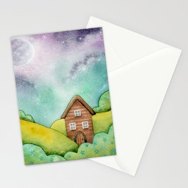 Little House In Forget Me Not Hills - Watercolor Illustration Stationery Cards