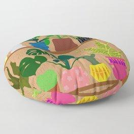 Plants on the Shelf in Warm Wood Floor Pillow
