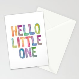 Hello Little One - watercolor rainbow typography Stationery Cards