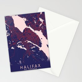 Halifax, NS, Canada, Blue, White, City, Map Stationery Cards