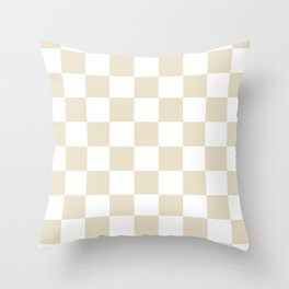 Checkered - White and Pearl Brown Throw Pillow