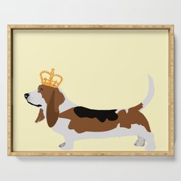 Crowned Basset Hound Dog Serving Tray