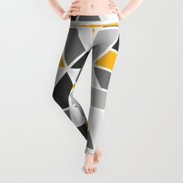 Abstract Geo - Yellow & Grey Leggings