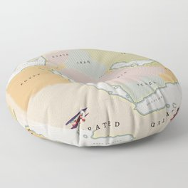 Illustrated map of the Middle East Floor Pillow