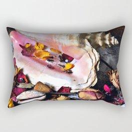 Maritime Symphony with Sea Shells and Roses Rectangular Pillow