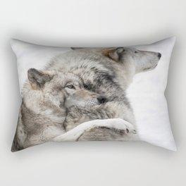 Wolves in Snow Rectangular Pillow