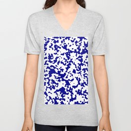 Spots - White and Dark Blue Unisex V-Neck