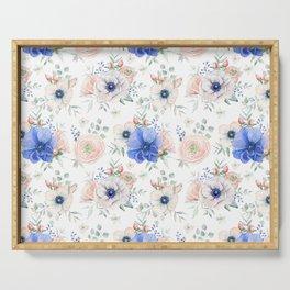 Blue + Pink Garden Floral Serving Tray