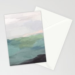 Seafoam Green Mint Black Blush Pink Abstract Nature Land Art Painting Art Print II Stationery Cards