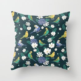 Budgies and Cosmos Flowers on Dark Green Throw Pillow